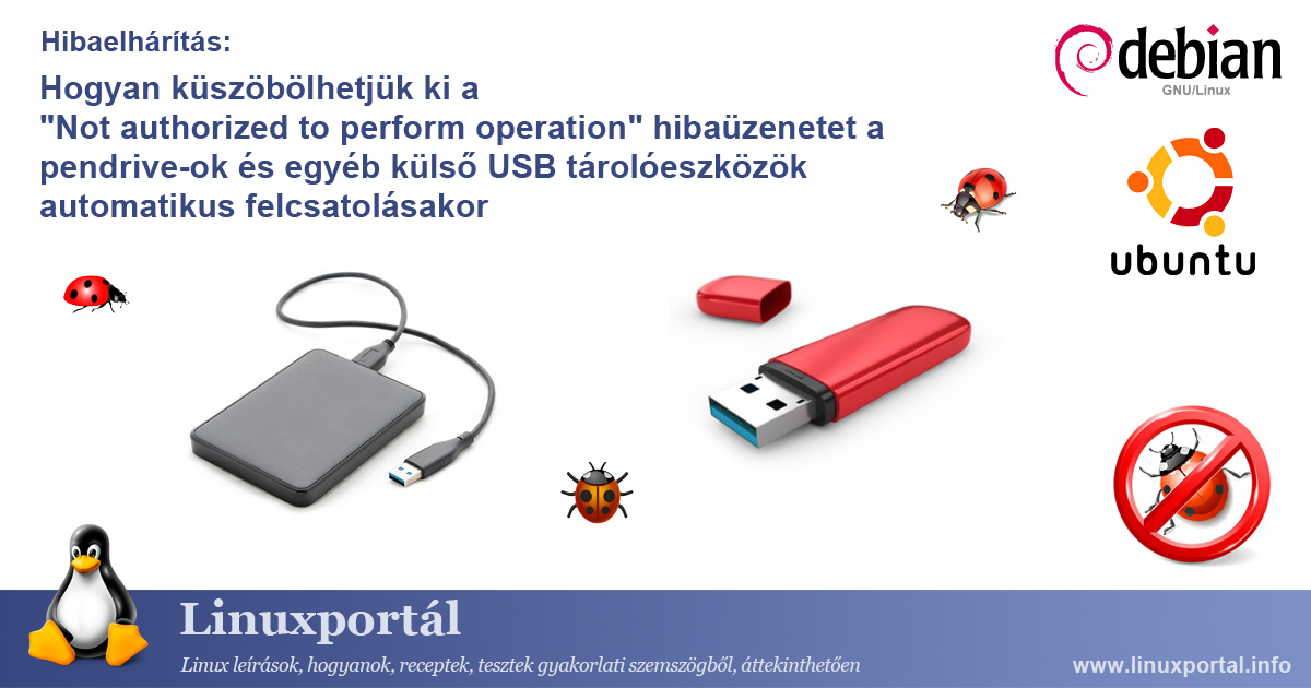 """How to resolve """"Not authorized to perform operation"""" error message when automatically mounting flash drives and other external USB storage devices 