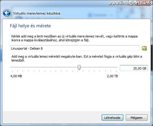 VirtualBox - Új virtuális gép készítése - Fájl helye és mérete