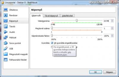 VirtualBox - Virtuális gép beállítások - Képernyő - Képernyők