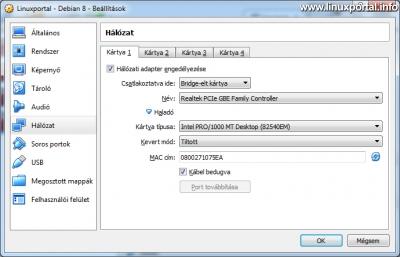 VirtualBox - Virtuális gép beállítások - Hálózat - Kártya 1