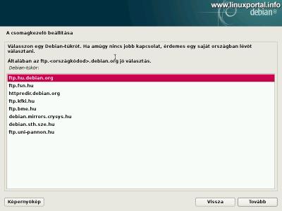 Debian 8 telepítő - Csomagkezelő - Debian tükör kiválasztása