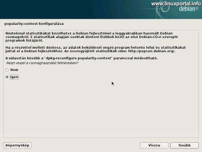 Debian 8 telepítő - Névtelen statisztikák konfigurálása