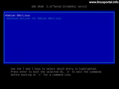 Debian 8 indítás - GRUB rendszerválasztó