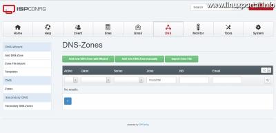 ISPConfig - DNS - DNS zónák