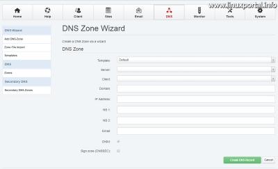 ISPConfig - DNS - Új DNS zóna létrehozása