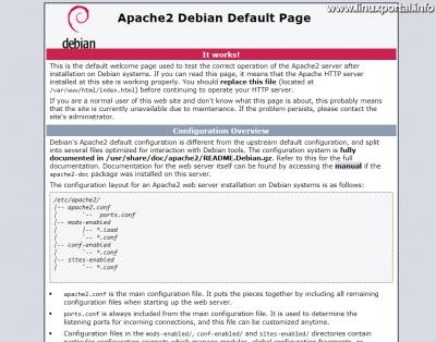 Apache2 Debian alapértelmezett oldal