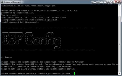 ISPConfig 3 frissítése - Frissítés indítása