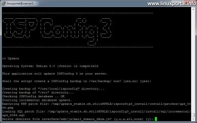 ISPConfig 3 frissítése - PHP, MySQL frissítőfájlok futtatása és az elavult fájlok törlése