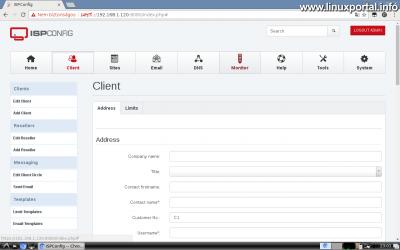 Webfiók létrehozása az ISPConfig rendszerben - Ügyfél létrehozása