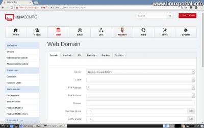Webfiók létrehozása az ISPConfig rendszerben - Web Domain beállítása