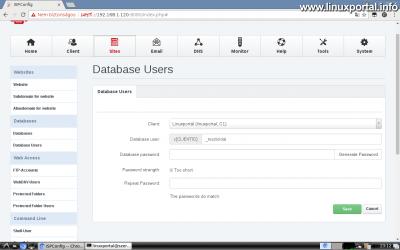Webfiók létrehozása az ISPConfig rendszerben - Adatbázis felhasználó létrehozása