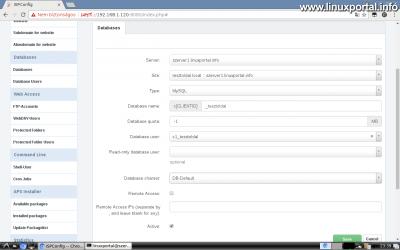 Webfiók létrehozása az ISPConfig rendszerben - Adatbázis létrehozása