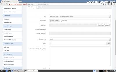 Webfiók létrehozása az ISPConfig rendszerben - Shell felhasználó létrehozása