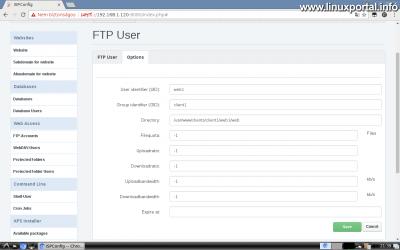 Webfiók létrehozása az ISPConfig rendszerben - FTP felhasználó opciók