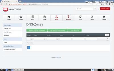 Webfiók létrehozása az ISPConfig rendszerben - DNS beállítások