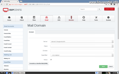 Webfiók létrehozása az ISPConfig rendszerben - Email domain létrehozása