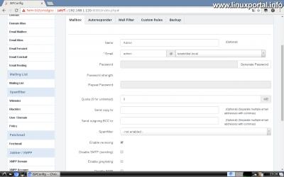 Webfiók létrehozása az ISPConfig rendszerben - Email cím létrehozása - Mailbox fül