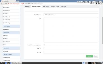 Webfiók létrehozása az ISPConfig rendszerben - Email cím létrehozása - Autoresponder fül