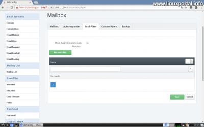 Webfiók létrehozása az ISPConfig rendszerben - Email cím létrehozása - Mail Filter fül