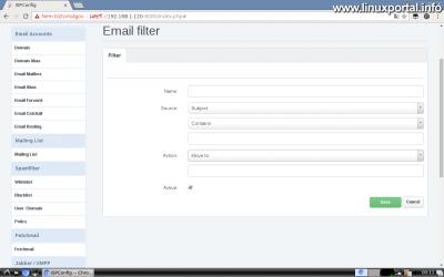 Webfiók létrehozása az ISPConfig rendszerben - Email cím létrehozása - Új szűrő létrehozása