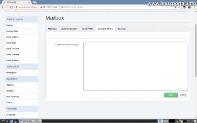 Webfiók létrehozása az ISPConfig rendszerben - Email cím létrehozása - Custom Rules fül