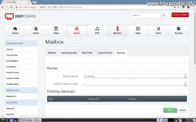 Webfiók létrehozása az ISPConfig rendszerben - Email cím létrehozása - Backup fül