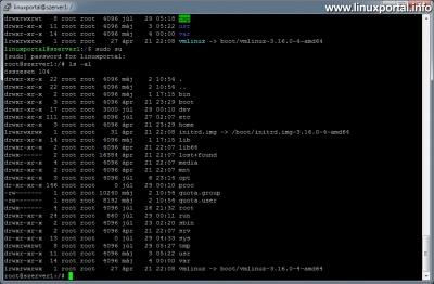 Színek használata a terminálban - Egyszínű root ls parancs kimenet alapból