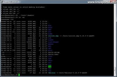 Színek használata a terminálban - Sínes root ls parancs kimenete