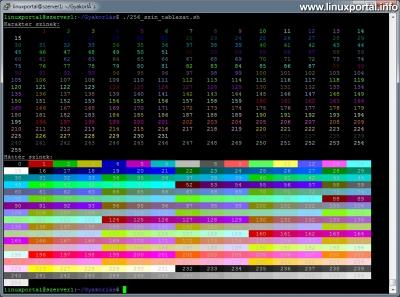 Színek használata a terminálban - 256 színű példaprogram