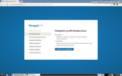 Drupal 8 telepítése - Telepítési profil kiválasztása