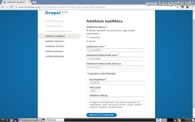 Drupal 8 telepítése - Adatbázis beállítása