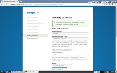 Drupal 8 telepítése - Webhely beállítása (panel felső része)