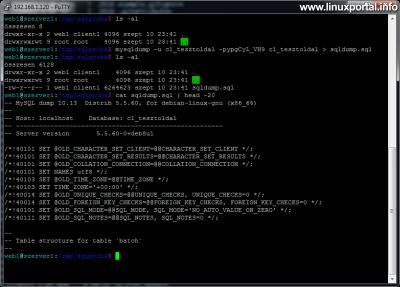 Parancssori adatbázishasználat - Mysqldump példa
