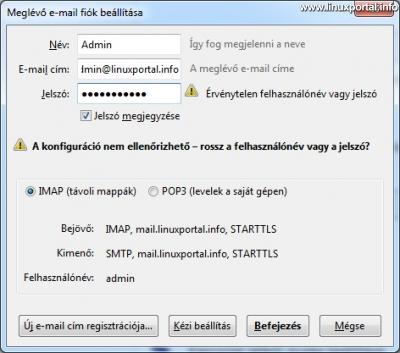 Mozilla Thunderbird - Email fiók beállítása - Rossz felhasználónév vagy jelszó