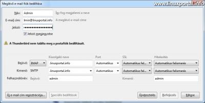 Mozilla Thunderbird - Email fiók beállítása - Kézi beállítás