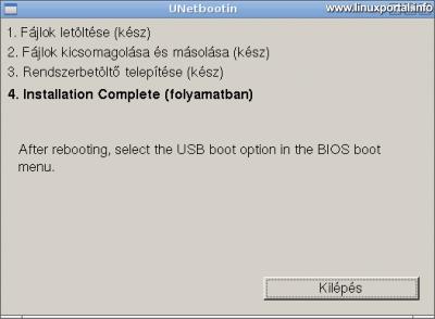 UNetbootin - Telepítés elkészült