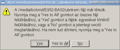 UNetbootin - Fájlok felülírásának jóváhagyása