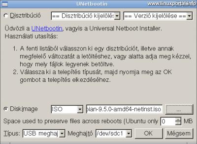 UNetbootin - Meghajtó kiválasztása