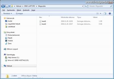 Samba hálózati megosztás tallózása Windowsból