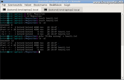 Samba megosztás Debianon - Teszt könyvtárstruktúra