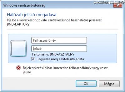 Windows Hálózati jelszó megadása