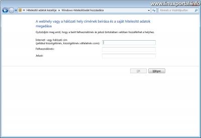 Windows - Hitelesítő adat hozzáadása ablak
