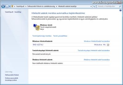 Windows - Hitelesítő adatok kezelője ablak