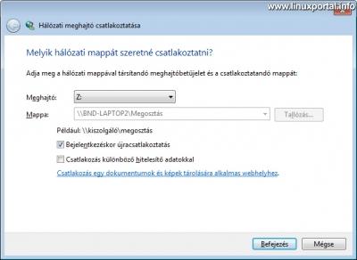 Windows - Hálózati meghajtó csatlakoztatása
