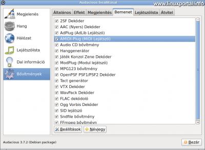 Audacious - Beállítások - Bővítmények - Bemenet - AMIDI Plugin