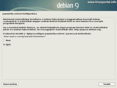 Debian 9 (Stretch) minimális szerver telepítése - Popularity-contest konfigurálása
