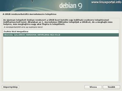 Debian 9 (Stretch) minimális szerver telepítése - Grub rendszerbetöltő beállítása