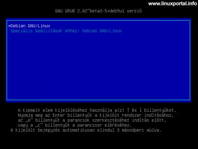 Debian 9 (Stretch) minimális szerver telepítése - Rendszer indítása, Grub menü