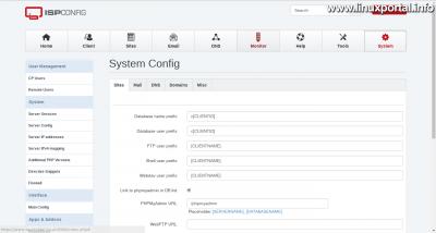 ISPConfig - System - Main config - prefix beállítások