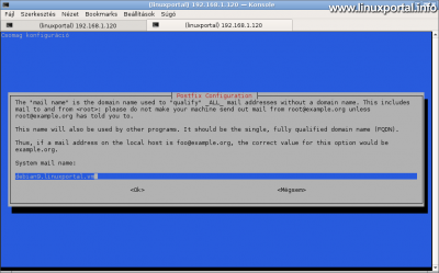 Debian 9 (Stretch) Tökéletes szerver telepítése - Postfix konfiguráció - Domain név beállítása